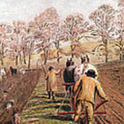 February - Ploughing A Field With Horses Art Print