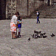 Feeding Pigeons In Santiago De Compostela Art Print by Mary Machare