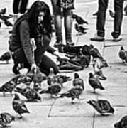 Feeding The Pigeons Art Print