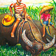 Feeding Water Buffalo Art Print