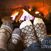 Feet Warming By Fireplace Art Print