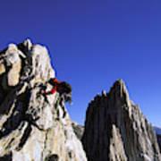 Female Climber Reaching The Top Art Print