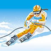 Female Downhill Skier Winter Sport Art Print by Frank Ramspott