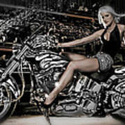 Female Model With A Motorcycle Art Print
