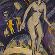 Female Nude With Hot Tub Art Print by Ernst Ludwig Kirchner