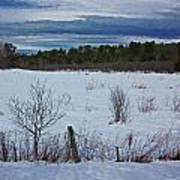 Fence And Snowy Field Art Print