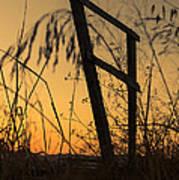 Fence At Sunset I Art Print
