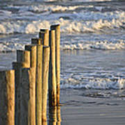 Fence Posts Into The Sea Art Print