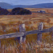 Fenced Field - Point Arenas Ca Art Print