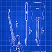 Fender Guitar Patent 1951 - Blue Art Print