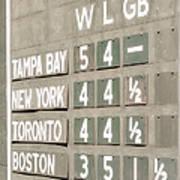 Fenway Park Al East Scoreboard Standings Art Print