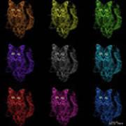 Feral Cat Pop Art - 9905 F M - Bb Art Print