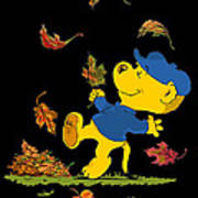 Ferald Dancing Amongst The Autumn Leaves Art Print
