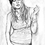 Fergie Art Drawing Sketch Portrait Art Print
