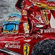 Fernando Alonso And Ferrari F10 Art Print