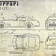 Ferrari 250 Gt Blueprint Antique Art Print
