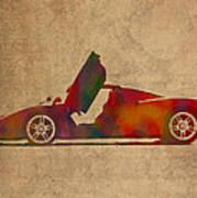 Ferrari Enzo 2004 Classic Car Watercolor On Worn Distressed Canvas Art Print