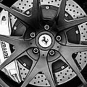 Ferrari Wheel Emblem - Brake Emblem -0430bw Art Print
