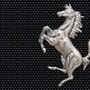 Ferrari's Horse Logo In Chrome Art Print