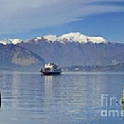 Ferry Boat On An Alpine Lake Art Print