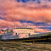 Ferry Dockside At Cold Bay Art Print