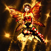 Festive Amber Fairy Art Print