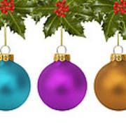 Festive Christmas Baubles Art Print