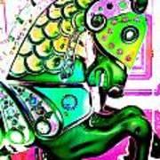 Festive Green Carnival Horse Art Print