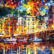 Few Boats - Palette Knife Oil Painting On Canvas By Leonid Afremov Art Print