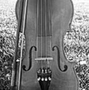 Fiddle And Bow Bw Art Print