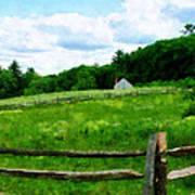 Field Near Weathered Barn Art Print
