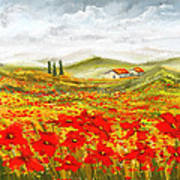 Field Of Dreams - Poppy Field Paintings Art Print