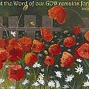 Field Of Poppies With Scripture Art Print