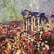 Fields Of Flower- And Roman Temple Art Print