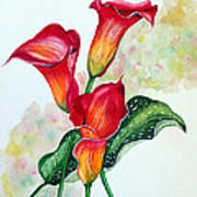 Fiery Callas Art Print