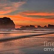 Fiery Ripples In The Surf Art Print
