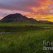 Fiery Sky Over Bear Butte Art Print