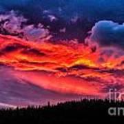 Fiery Sunrise At Glacier National Park Art Print