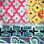 Fiesta 6- Colorful Pattern Painting Art Print by Linda Woods