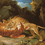 Fight Between A Lion And A Tiger, 1797 Art Print by James Ward
