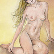 Figure Study In Watercolour Art Print