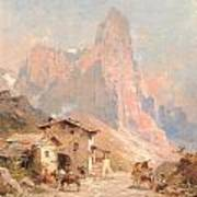 Figures In A Village In The Dolomites Art Print