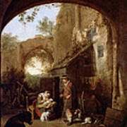 Figures In The Courtyard Of An Old Building Art Print