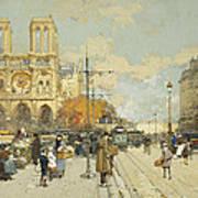 Figures On A Sunny Parisian Street Notre Dame At Left Art Print