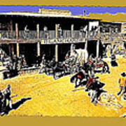 Film Homage Extras Unknown Production Old Tucson Arizona Color Added Art Print