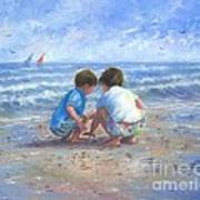 Finding Sea Shells Brother And Sister Art Print
