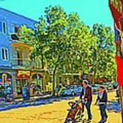 Fine Day For Baby Strollers And Bikes Art Of Montreal Street Scene Across Maitre Gourmet Cafe Art Print