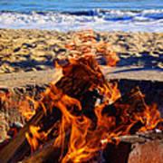 Fire At The Beach Art Print
