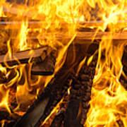 Fire - Burning Wood Art Print