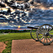 Fire Clouds Over A Gettysburg Cannon Art Print by Andres Leon